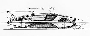 Automotive design - A futuristic original sketch for Ferrari Modulo 512-S by Paul Martin in 1967. There are already many features of the final concept, including the reduced height, wheels coved for low drag and the characteristic entry system.