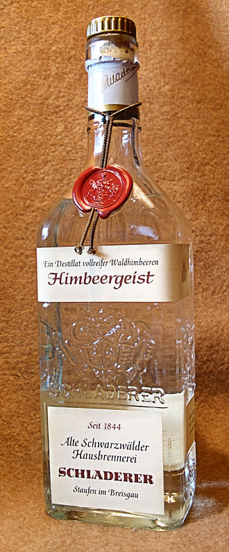 Schnapps - Himbeergeist made from wild raspberries in the Black Forest region of Germany