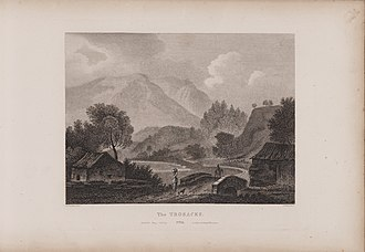 Trossachs - Engraving of a view of the Trossachs by James Fittler in Scotia Depicta, published 1804