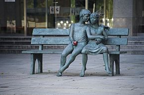 Sculpture by Lea Vivot named The Secret Bench of Knowledge