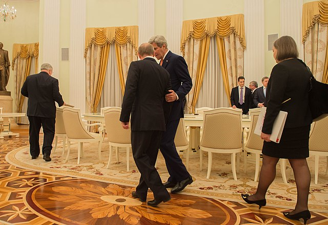 Secretary Kerry Chats With Russian President Putin Before Their Bilateral Meeting Focused on Syria and Ukraine in Moscow (25407409963).jpg