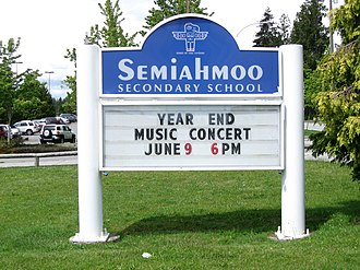 Semiahmoo Secondary School - Image: Semiahmoo Secondary school sign (148 Street)