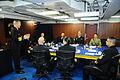 Senior enlisted leaders exchange ideas before the start of Talisman Saber 2015 150704-N-GR655-025.jpg