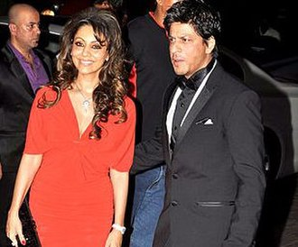 Gauri Khan - Shahrukh Khan with his wife Gauri Khan at Karan Johar's 40th birthday bash at Taj Lands End
