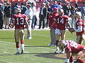 Shaun Hill and JT O'Sullivan on field pregame at Eagles at 49ers 10-12-08.JPG