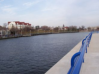 Sheboygan River - Riverfront in downtown Sheboygan near the river's mouth