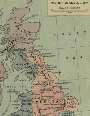 Hatfield, South Yorkshire - Section from Shepherd's map of the British Isles about 802 AD showing the kingdom of Northumbria. Click on the Picture to see the Meicen Capital – Hatfield (Heathfield)