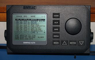 Automatic identification system - A vessel's text-only AIS display, listing nearby vessels' range, bearings, and names
