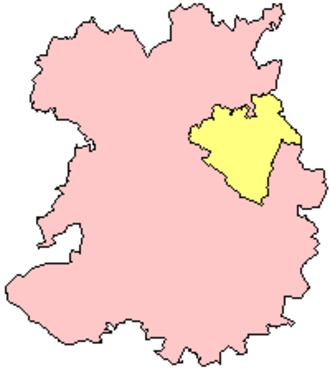 Telford and Wrekin - Telford and Wrekin (yellow) in the ceremonial and historic county of Shropshire.