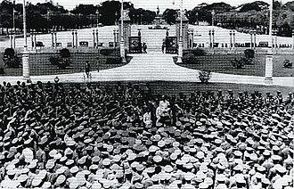 Phraya Manopakorn Nititada - Phraya Manopakorn Nititada addressing the crowd at Ananta Samakhom Throne Hall after the 1932 revolution.