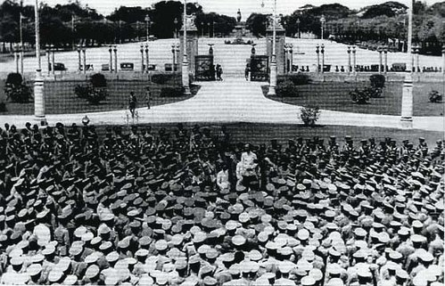 Phraya Manopakorn Nititada addressing the crowd at Ananta Samakhom Throne Hall after the 1932 revolution Siam-tries-a-peoples-party.jpg