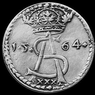 Lithuanian auksinas - Image: Sigismund Augustus 1 Thaler (1564) obverse