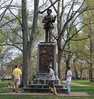 <i>Silent Sam</i> Bronze statue of a Confederate soldier on the University of North Carolina campus from 1913 to 2018