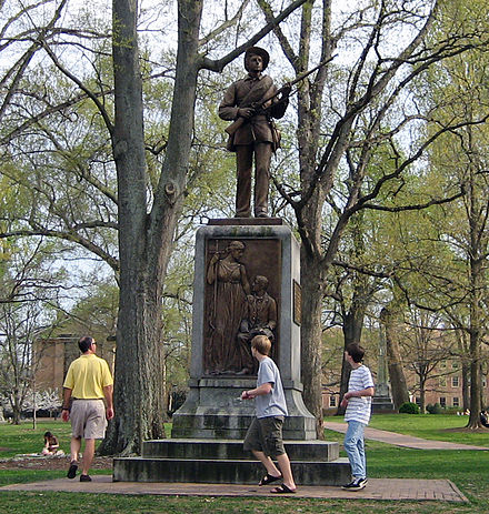 Statue of a Confederate soldier Silent Sam, University of North Carolina at Chapel Hill, by John Wilson Silent Sam.jpg