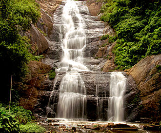 Kodaikanal Lake - Outflow from the lake goes over the Silver cascade fall