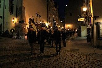 Conservative People's Party of Estonia - Image: Sinise Äratuse tõrvikurongkäik