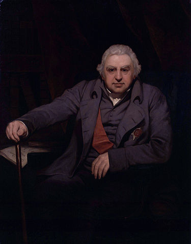 Portrait painting of Joseph Banks, a portly older white man who is an early 19th century gentleman