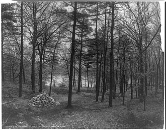 Walden - The site of Thoreau's cabin marked by a cairn in 1908