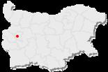 Karte von Bulgarien, Position von Sofia hervorgehoben