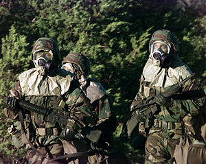 Chemical weapon - U.S. soldiers wearing full chemical protection.