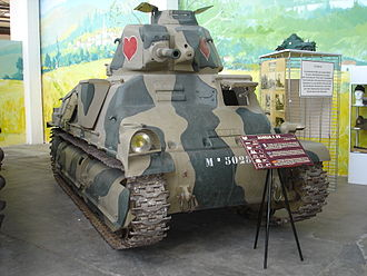 SOMUA S35 - The S35 tank displayed in the museum building at Saumur. The cupola hatch added by the Germans is clearly visible