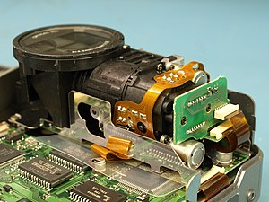 Sony Mavica - Sony Mavica MVC-FD7 x10 Lens Assembly. The 0.3M pixel sensor is on the right hand PCB. From 1997