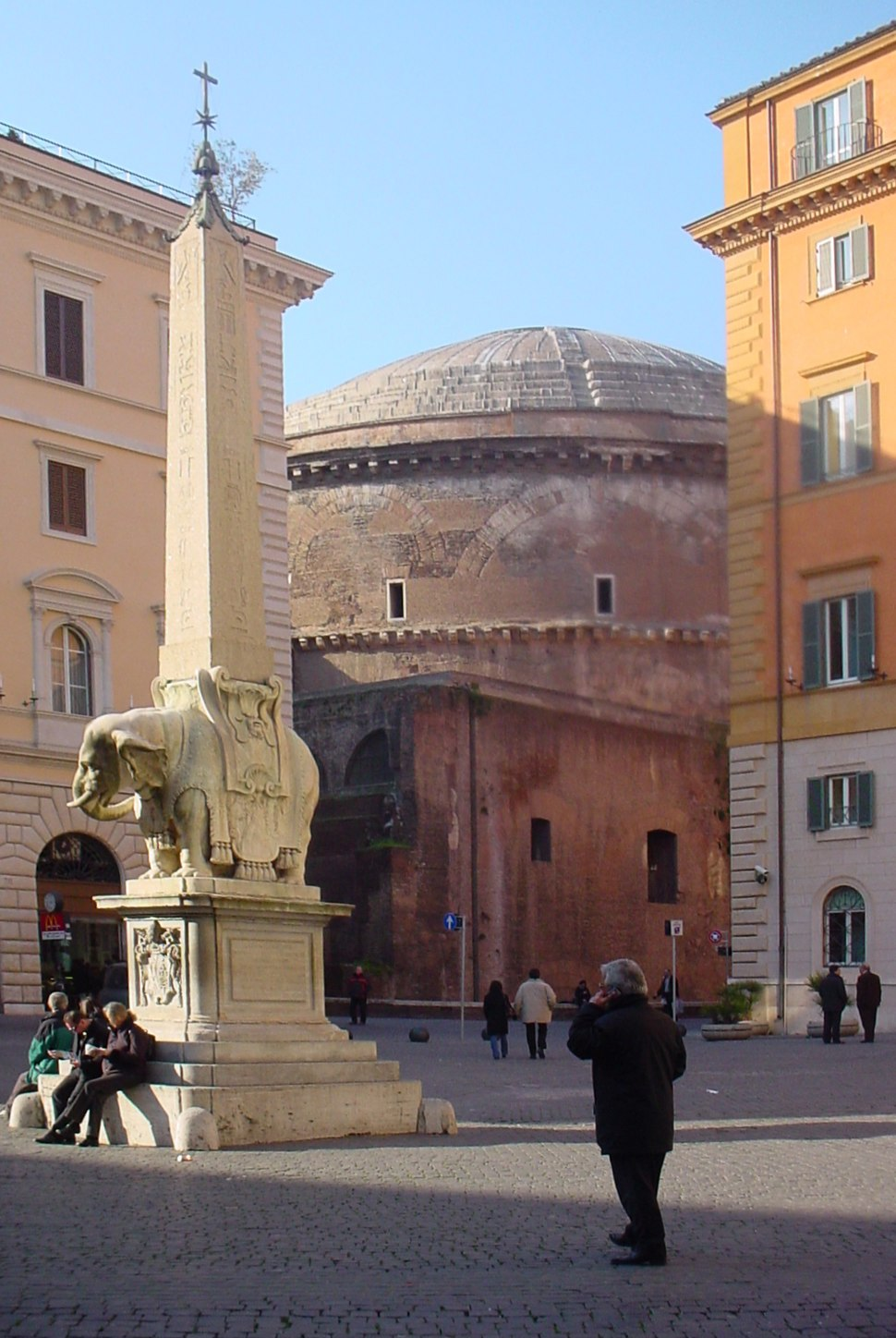 South east view of the Pantheon from Piazza Minerva, 2006