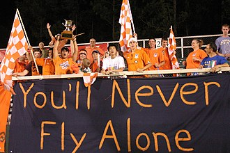 North Carolina FC - RailHawks fans celebrate their team's 2007 Southern Derby Championship on August 17, 2007 at SAS Soccer Park