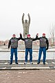 Soyuz MS-12 backup crew at the statue of Yuri Gagarin in Baikonur.jpg