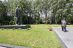 Soyuz TMA-17M crew in front of the statue of Yuri Gagarin in Star City.jpg