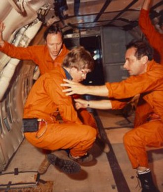 Space adaptation syndrome - NASA astronauts acclimating themselves to space adaptation syndrome in a KC-135 airplane that flies parabolic arcs to create short periods of weightlessness