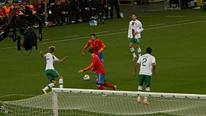 2010 FIFA World Cup knockout stage - Sergio Ramos of Spain tries to pass the ball to Fernando Torres as Portugal's Fábio Coentrão, Bruno Alves and Cristiano Ronaldo look on.