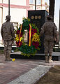 Spanish service members place a wreath in front of the Afghan National Security Force-International Security Assistance Force memorial during a Spanish Constitution Day ceremony in Kabul, Afghanistan, Dec. 6 131206-Z-CP585-009.jpg