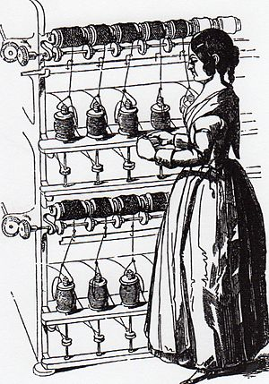 Silk industry of Cheshire - A simple silk throwing frame where the continuous filament from the top/horizontal bobbin is pulled onto the vertical/bottom bobbin, A flyer round the bottom bobbin inserts a twist