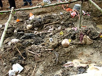 Forensic anthropology - Exhumed bodies of victims of the 1995 Srebrenica Genocide in a mass grave found in 2007.
