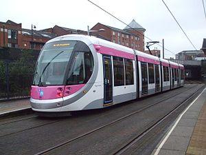 Midland Metro - Urbos 3 tram at St Paul's tram stop.