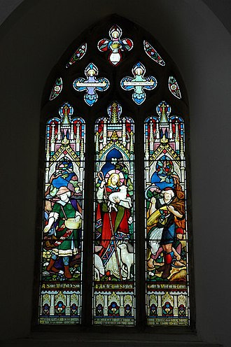 Whichford - Gothic Revival stained glass window in St Michael's church representing Jesus Christ as the Good Shepherd