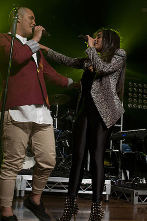 Stan Walker - Walker and Jessica Mauboy performing during the Galaxy Tour in January 2012.