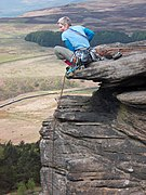 Stanage Edge rock climber above Stanage Plantation-geograph-3466794-by-Neil-Theasby.jpg