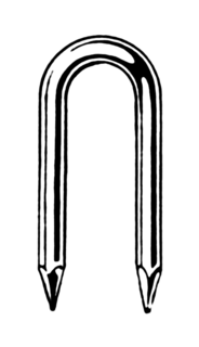 Staple (fastener) connecting element and a part of the office supply