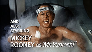 Whitewashing in film - White actor Mickey Rooney wore yellowface to portray I. Y. Yunioshi, a Japanese landlord, in the 1961 film Breakfast at Tiffany's.