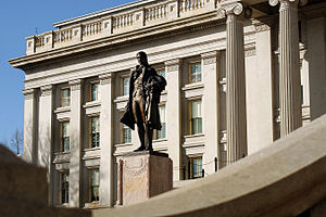 Treasury Building (Washington, D.C.) -  Statue of Alexander Hamilton