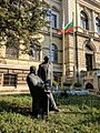 Statue of the Skorpil Brothers in front of the Archeological museum in Varna.jpg