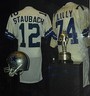Dallas Cowboys - Roger Staubach and Bob Lilly jerseys shown at Pro Football Hall of Fame in Canton, Ohio.