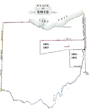 Federal Land Office - The Steubenville Land District shrank in 1807.  Star locates Land Office.