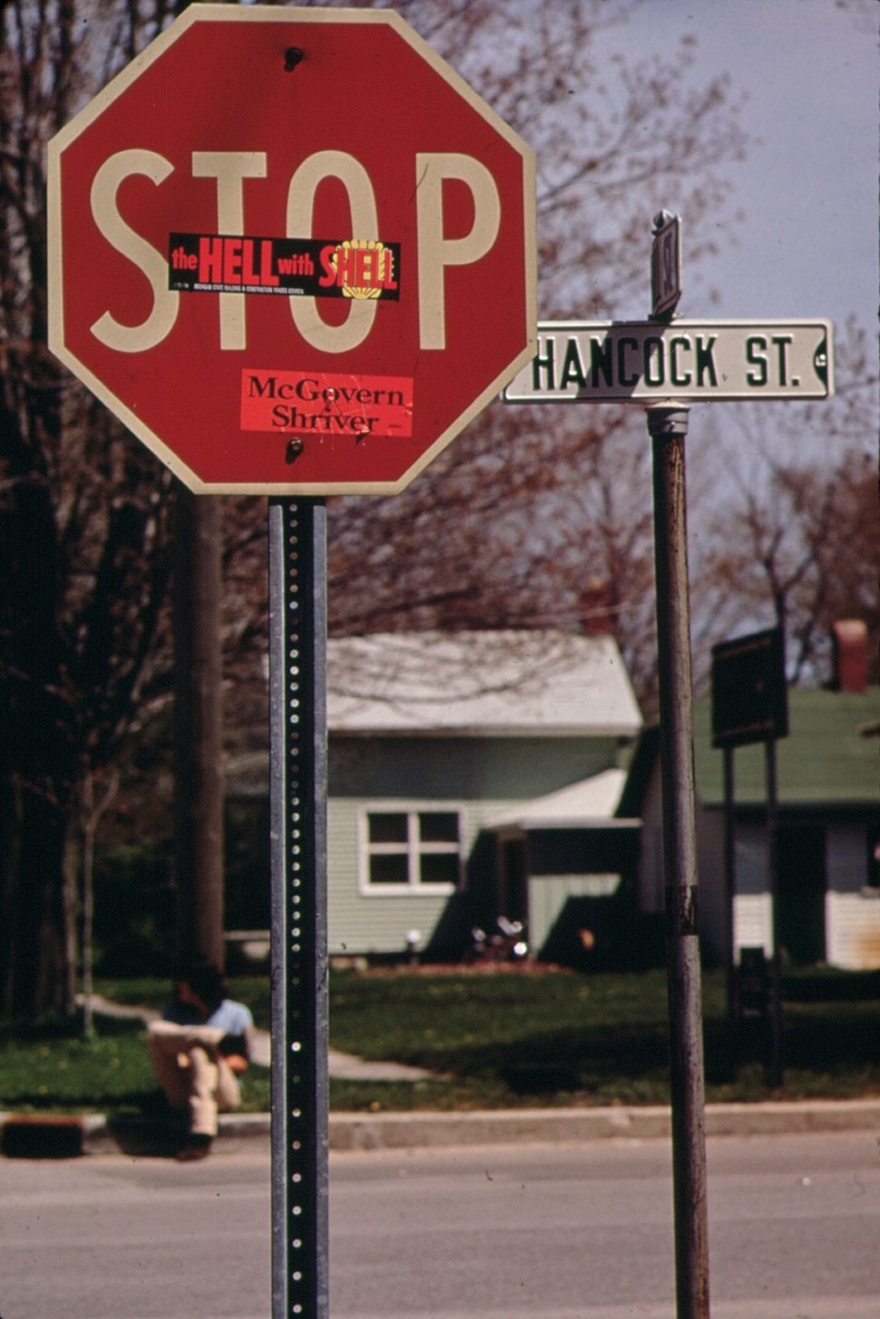 """Sticker on Stop-sign Reads, """"The Hell With Shell""""-in Pentwater, Michigan - NARA - 547042 (cropped)"""