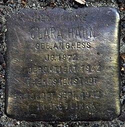 Photo of Clara Hahn brass plaque