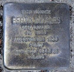 Photo of Bertha Bikales brass plaque