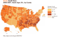 Stroke Death Rates 2002-2007 Adults 35+ by county US.png
