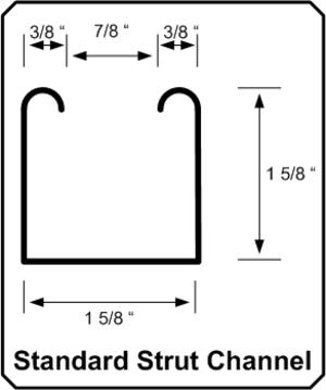 Strut channel - Cross section diagram of standard strut channel
